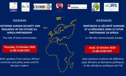 Wébinaire Favoriser la sécurité humaine et la résilience dans le futur partenariat UE – Afrique